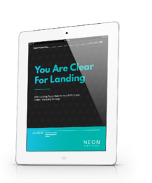You are Clear For Landing- Landing page ebook from Neon Ambition: https://www.neonambition.com/you-are-clear-for-landing