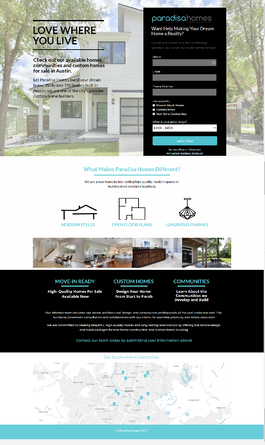 Paradisa homes landing page from Neon Ambition